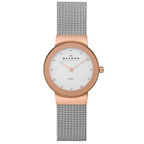 Skagen Ladies' White Dial Stone Set Mesh Bracelet Watch - Product number 1364944