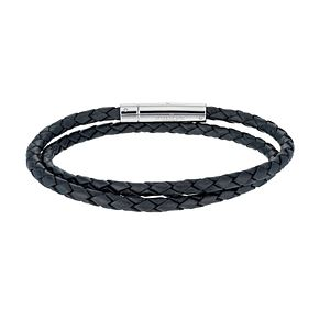 Unique stainless steel double black leather bracelet - Product number 1368087