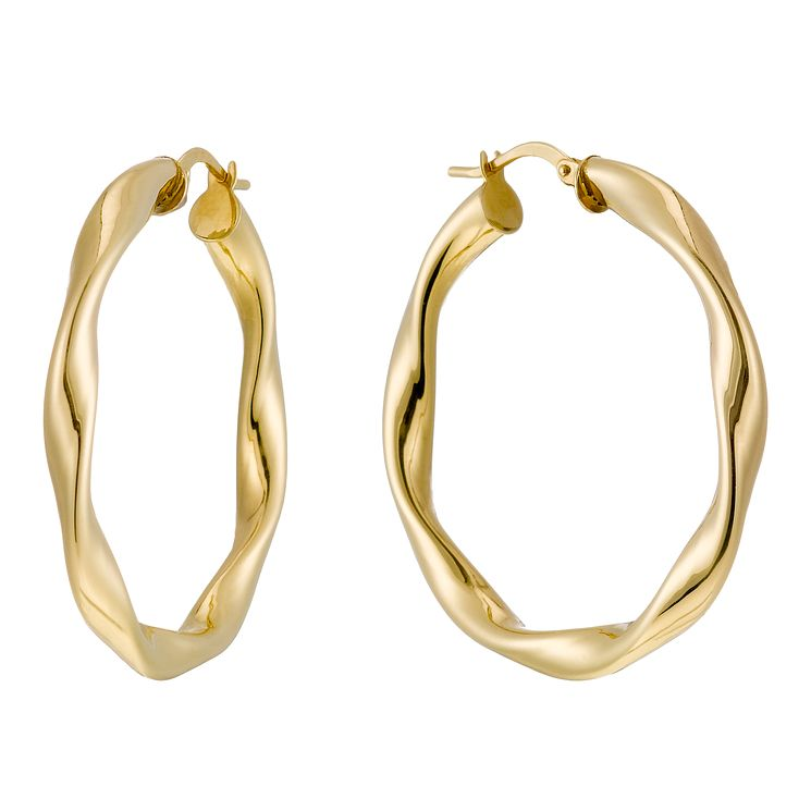 Together Silver & 9ct Bonded Gold Twisted Creole Earrings - Product number 1368117