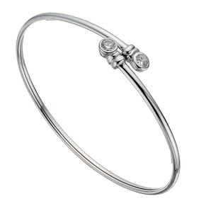 Silver Fancy Cubic Zirconia Torque Bangle - Product number 1368354