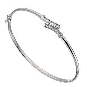 Silver Cubic Zirconia X Wave Bangle - Product number 1368370