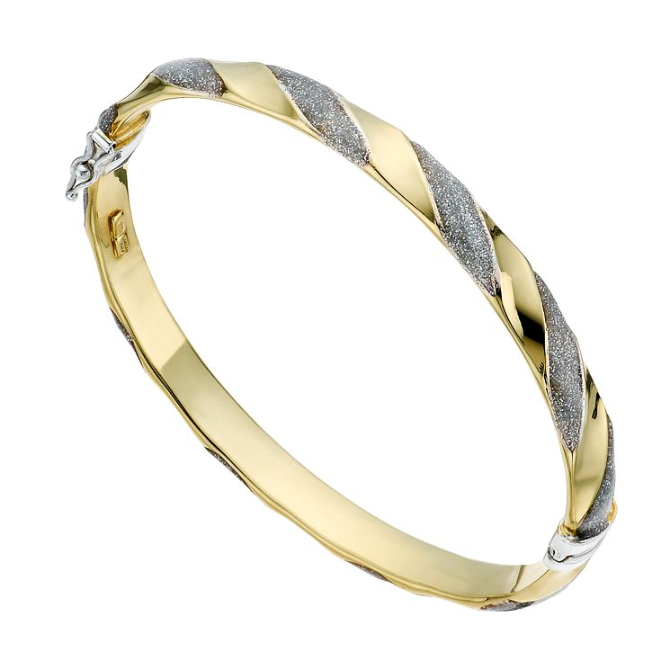Together Silver & 9ct Bonded Gold Patterned Bangle - Product number 1368575