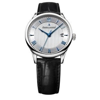 Maurice Lacroix Masterpiece men's black leather strap watch - Product number 1370790