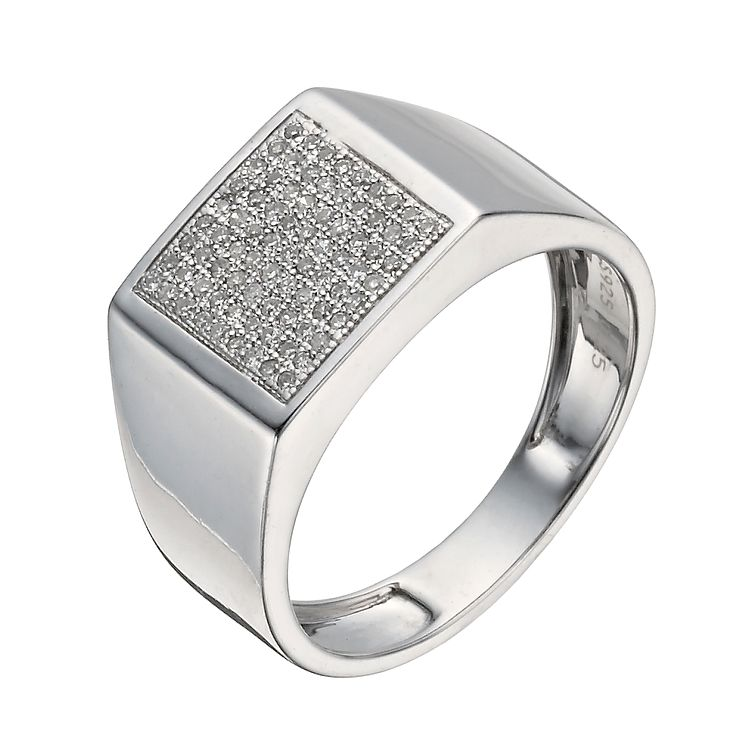 Silver diamond large square ring - Product number 1373633