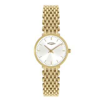Rotary Ladies' White Dial Gold-Plated Bracelet Watch - Product number 1395033