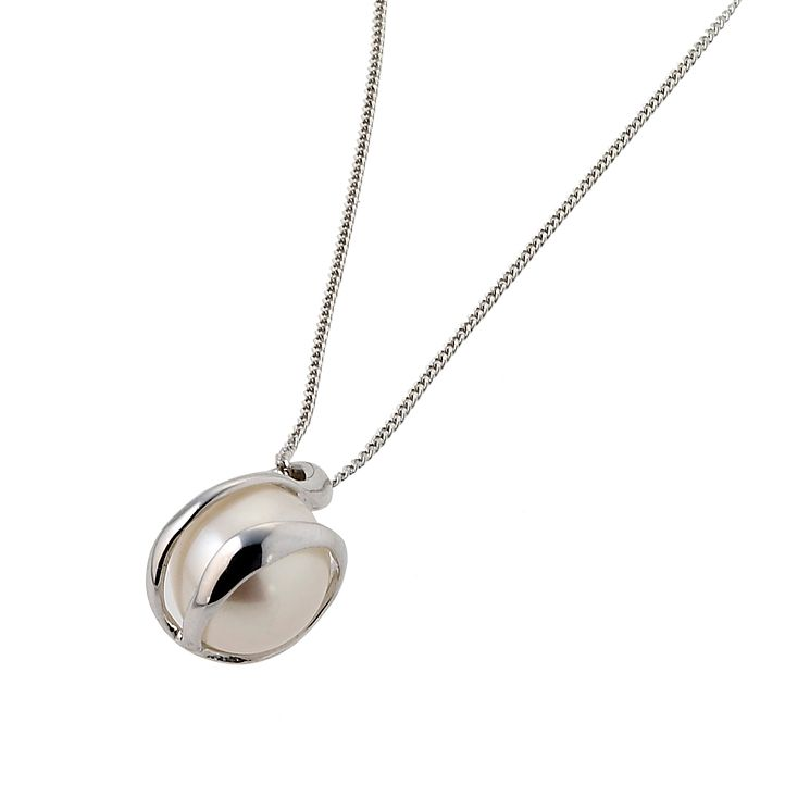 9ct White Gold Cultured Freshwater Pearl Wrap Pendant - Product number 1405144