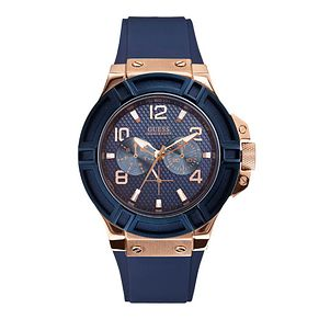 Guess Men's Blue Silicone Strap Watch - Product number 1407511