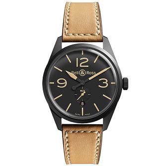 Bell & Ross Heritage men's black ion-plated tan strap watch - Product number 1407643