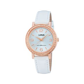 Lorus Ladies' Rose Gold-Plated White Leather Strap Watch - Product number 1409085