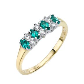 9ct Yellow Gold Created Emerald & Cubic Zirconia Ring - Product number 1410431
