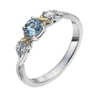 Sterling Silver & 9ct Gold Blue Topaz Three Stone Ring - Product number 1410571