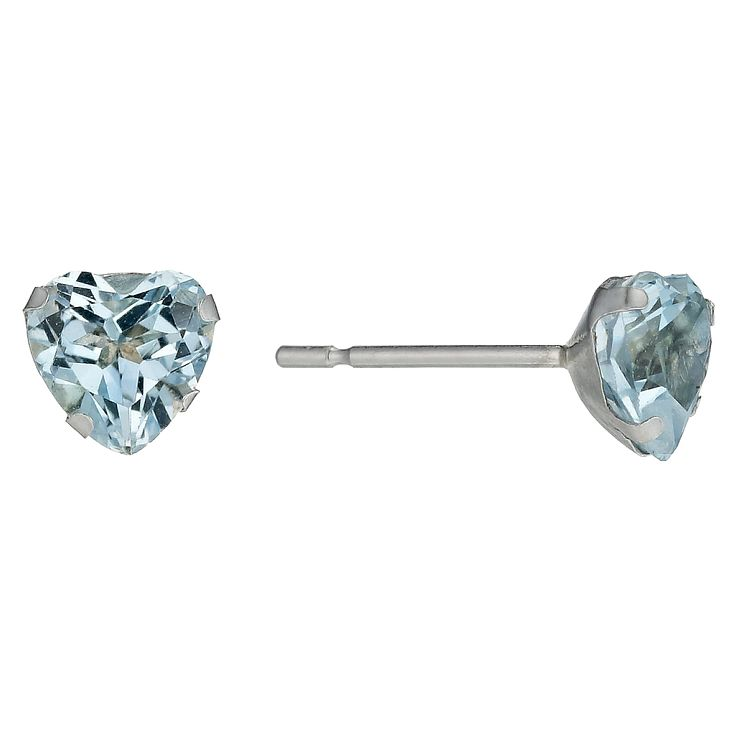 9ct White Gold Blue Topaz Heart Stud Earrings - Product number 1410776