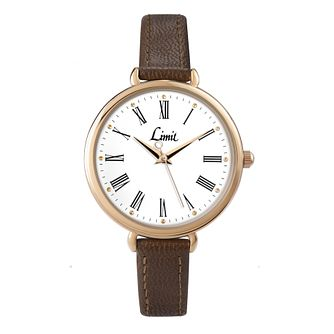 Limit Ladies' Gold Tone Brown PU Strap Watch - Product number 1412299