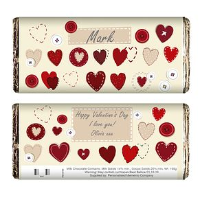 Personalised Fabric Hearts Chocolate Bar - Product number 1434411