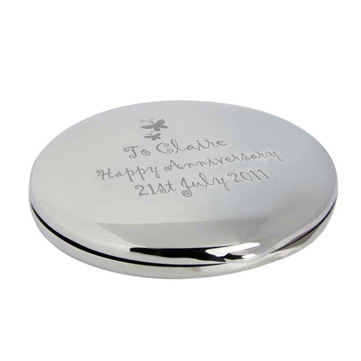 Engraved Butterfly Round Compact Mirror - Product number 1435140