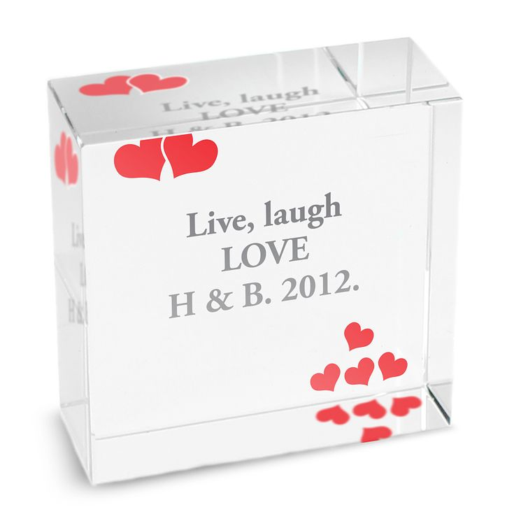 Personalised Red Hearts Medium Crystal Token - Product number 1438050