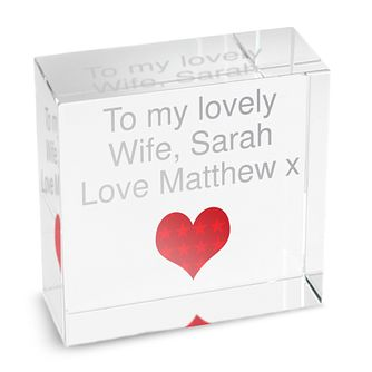 Personalised Red Heart Medium Crystal Token - Product number 1438077