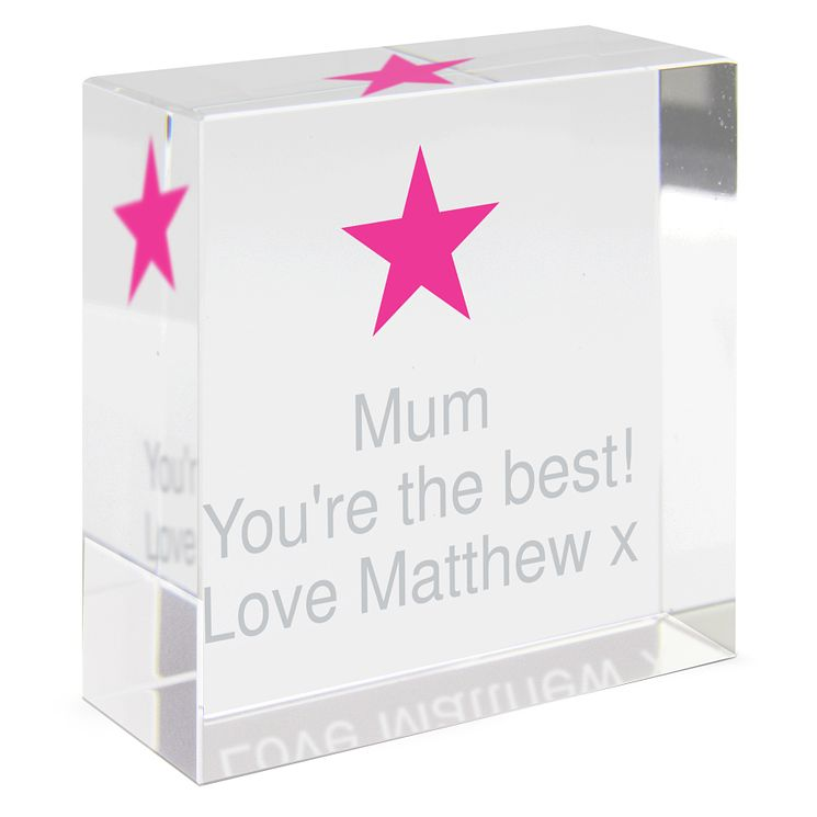 Personalised Pink Star Crystal Token - Product number 1438093