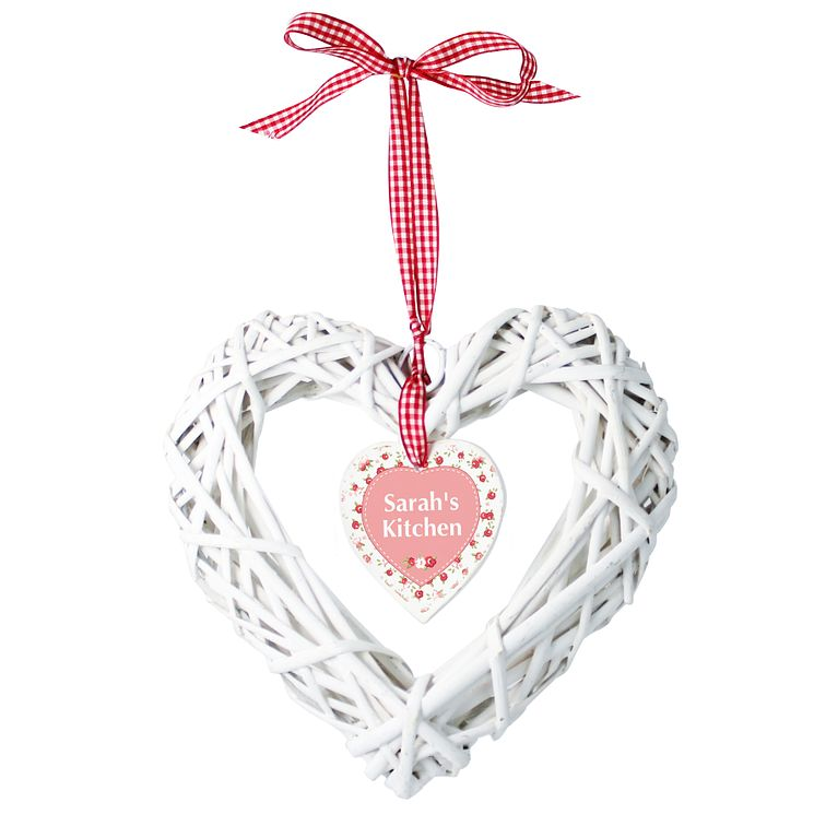 Personalised Vintage Floral Wicker Heart Decoration - Product number 1438115