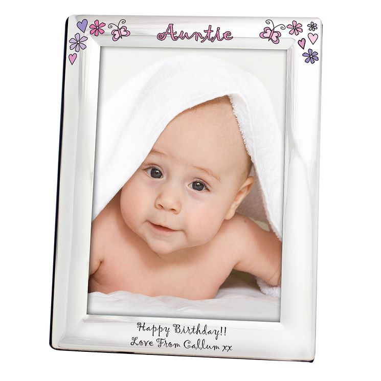 Personalised Floral Butterfly Name Silver 5x7 Frame - Product number 1438352