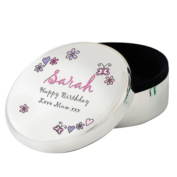 Personalised Floral Butterfly Round Trinket Box - Product number 1438387