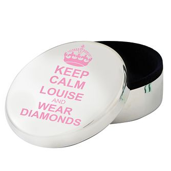 Personalised Pink Keep Calm Round Trinket Box - Product number 1438433