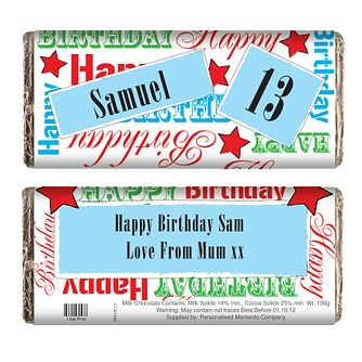 Personalised Blue Birthday Chocolate Bar - Product number 1438956