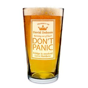 Engraved Don't Panic Pint Glass - Product number 1439197