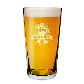 Engraved Established Rosette Pint Glass - Product number 1439286