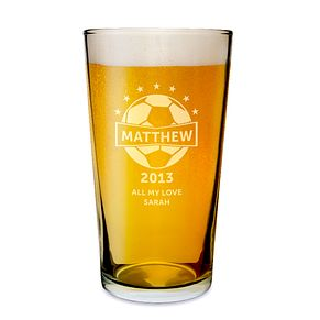 Engraved Football Pint Glass - Product number 1439324