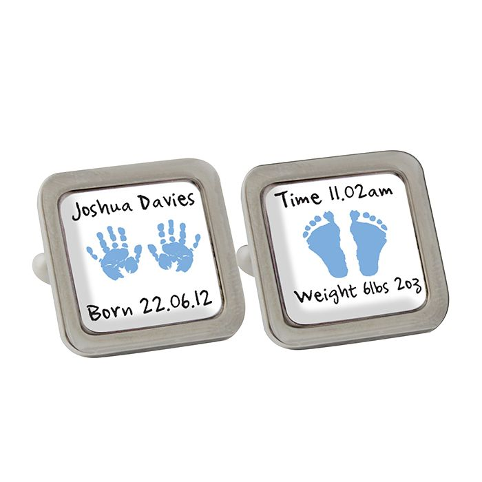 Personalised Blue Hand and Foot Print Cufflinks - Product number 1440489