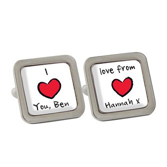 Personalised Red Heart Cufflinks - Product number 1440543