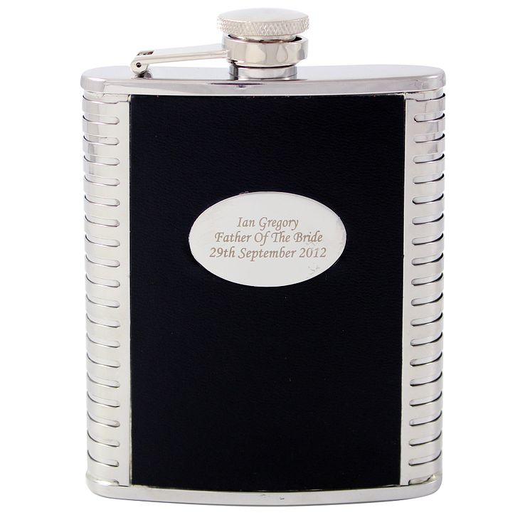 Engraved Black And Steel Hip Flask - Product number 1440810