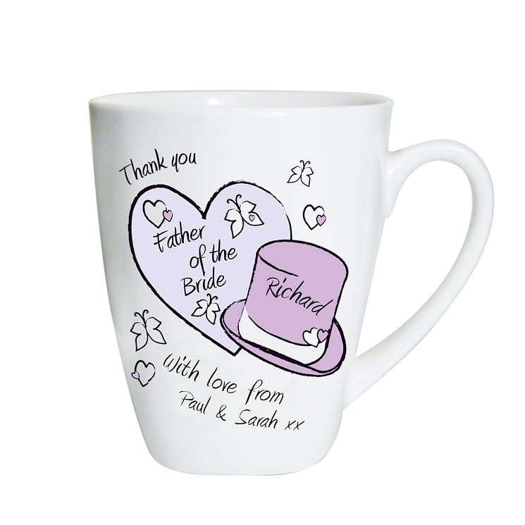 Personalised Hearts And Hats Butterfly Mug