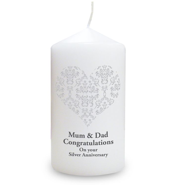 Personalised Silver Damask Heart Candle - Product number 1441345