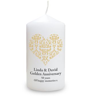 Personalised Gold Damask Heart Candle - Product number 1441388