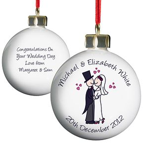 Personalised Cartoon Couple Keepsake Bauble - Product number 1441469