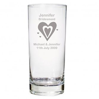 Personalised Designer Heart Motif Hi Ball Glass - Product number 1441671
