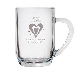 Personalised Designer Hearts Tankard Glass - Product number 1441752