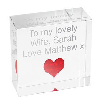 Personalised Red Heart Crystal Token - Product number 1442031