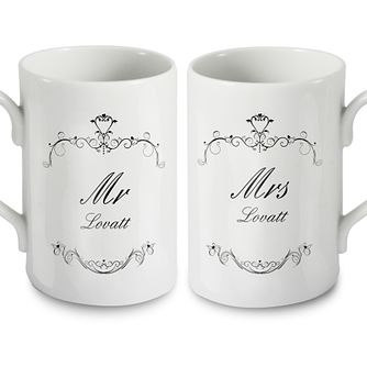 Personalised Ornate Swirl Couple Mug Set - Product number 1442074