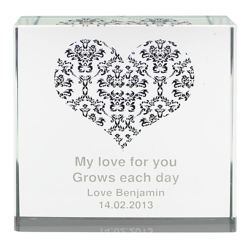 Personalised Damask Black Heart Crystal Token - Product number 1442597