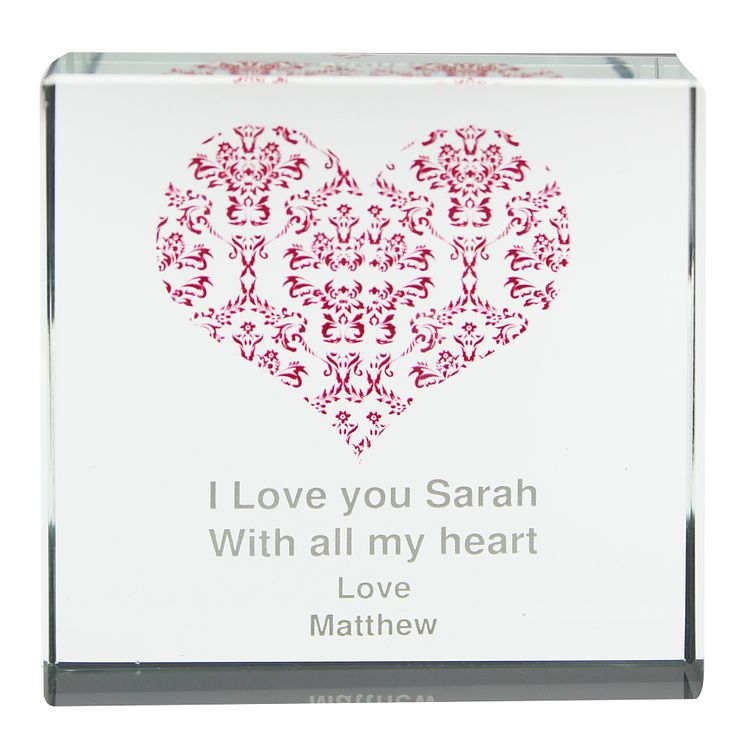 Personalised Damask Red Heart Crystal Token - Product number 1442627