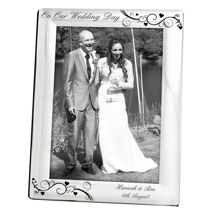 Personalised Black Swirl Silver 5x7 Wedding Frame - Product number 1442708