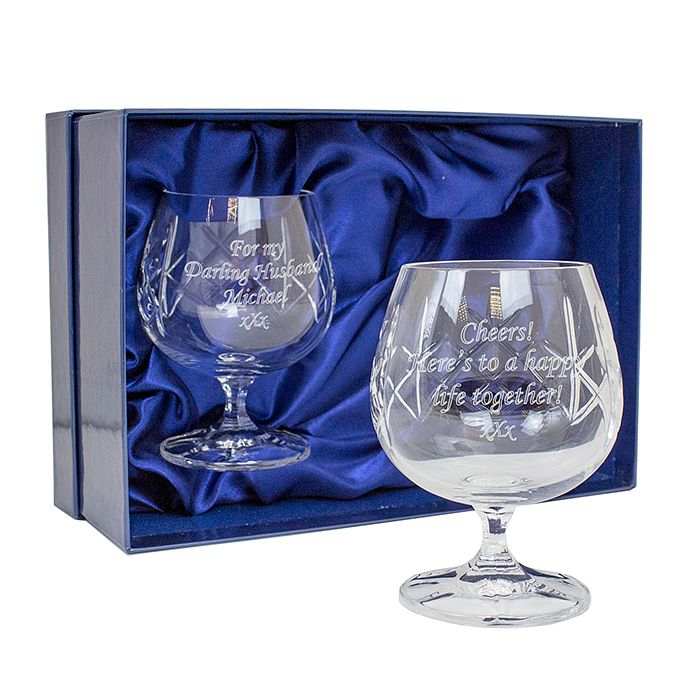 Personalised Engraved Crystal Brandy Glasses Set - Product number 1443879