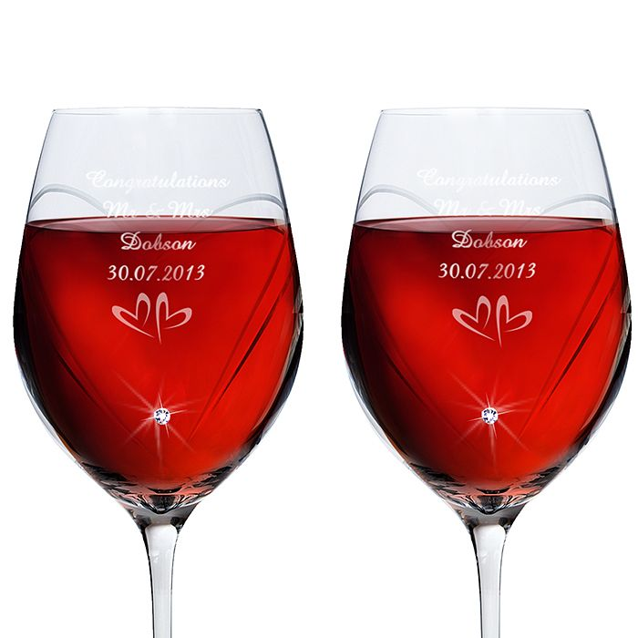 Engraved Swarovski Elements Wine Glasses- Small Hearts - Product number 1443925