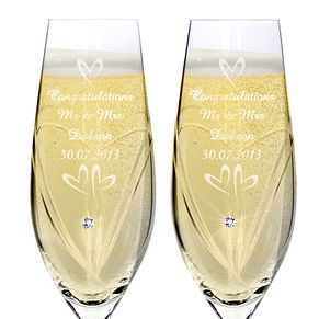 Engraved Swarovski Elements Flute Pair  - Small Hearts - Product number 1443984