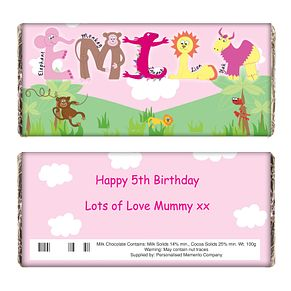 Personalised Pink Animal Alphabet Chocolate Bar - Product number 1444107