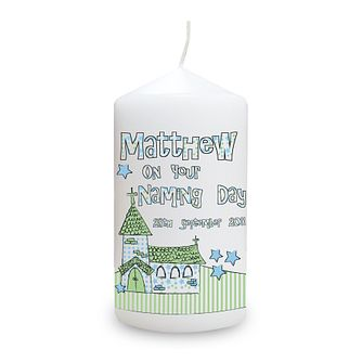 Personalised Blue Whimsical Church Candle - Product number 1444239