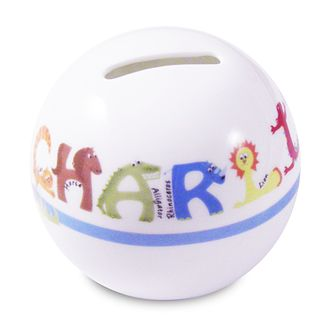 Personalised Blue Animal Name Money Box - Product number 1444530
